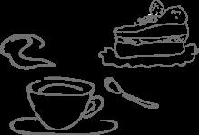 ケーキとコーヒーのイラスト